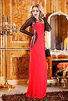 Красивое женское вечернее платье в пол с декольте Коралловое