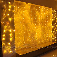 Новогодняя светодиодная гирлянда-штора 144 LED 2 м.*1.1 м. жёлтая, бахрома