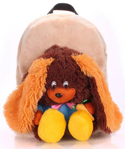 Детский рюкзак с Зайцем Poolparty backpack-rabbit-brown бежевый