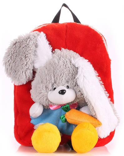 Яркий детский рюкзак с Зайкой Poolparty backpack-rabbit-red красный