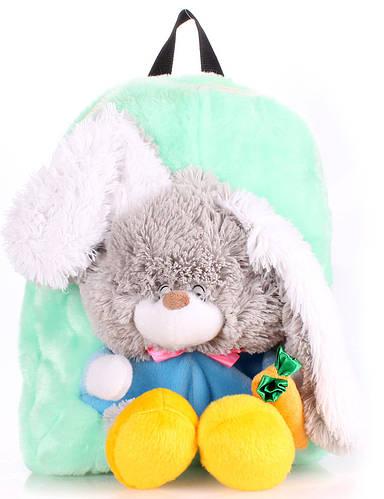 Рюкзак детский с Зайкой Poolparty backpack-rabbit-green бирюзовый
