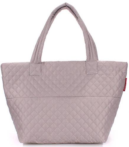 Стильная стеганая женская сумка POOLPARTY Broadway pp-broadway-fullgrey серая