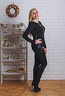Брючный женский костюм черный, фото 1