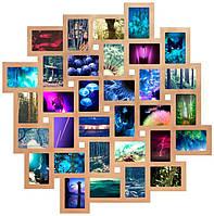 Деревянная мультирамка на 32 фото Облако Венге