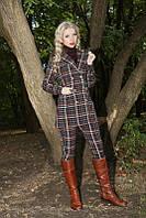 Модный женский удлиненный пиджак в клетку 931 Коричневый