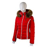 Пуховик женский Snowimage средней длины с мехом(енот) красный
