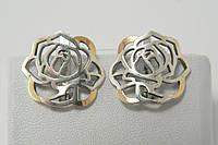 Серебряные серьги с золотом в форме розы