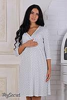 """Ночная сорочка для беременных и кормящих """"Alisa"""", молочная с серыми цветами"""