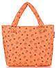 Яркая дутая сумка с принтом POOLPARTY pp1-ducks-orange оранжевая