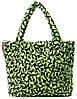 Женская дутая сумка с ярким рисунком POOLPARTY pool-65-green-rabbits зеленая
