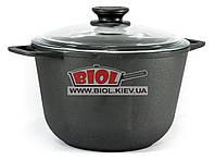 Кастрюля чугунная 4 л со стеклянной крышкой БИОЛ 0204С. Чугунная посуда Биол