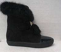 Ботиночки женские зимние стильные с меховой опушкой
