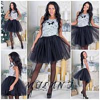 Шикарное платье с пышной юбкой из фатина (3 цвета)