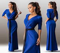 Женское длинное платье с черным поясом в расцветках И1571