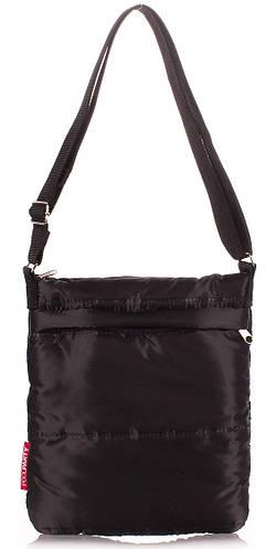 Женская дутая стеганая сумка-планшет POOLPARTY pool-59-puffy-black черная