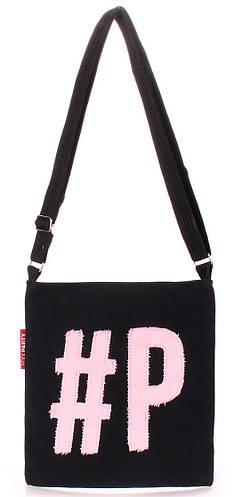 Молодежная коттоновая сумка POOLPARTY Detroit detroit-black-rose черная