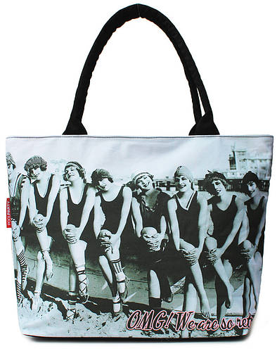 Коттоновая сумка с трендовым принтом POOLPARTY pool-100-swimteam белая