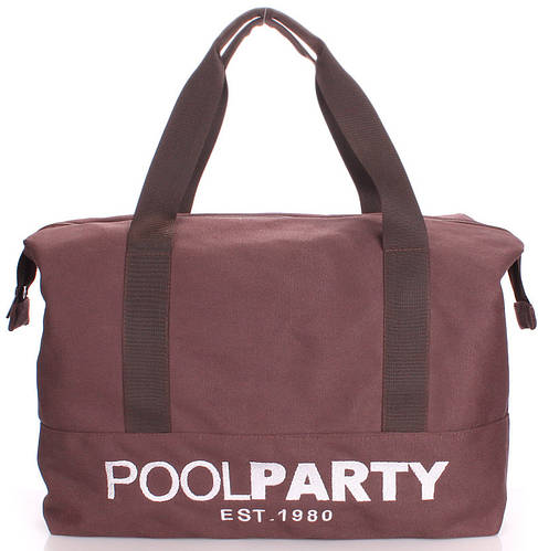 Молодежная коттоновая сумка POOLPARTY pool-12-brown коричневая