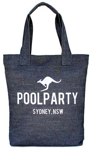 Женская коттоновая сумка POOLPARTY pool1-jeans синяя