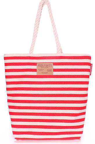 Полосатая коттоновая сумка POOLPARTY laspalmas-red красная