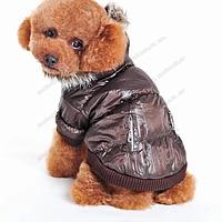 Курточка для собаки коричневая на флисе и синтапоне