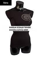 Женская водолазка с круглым вырезом, длинным рукавом и стразами ТМ GIULIA