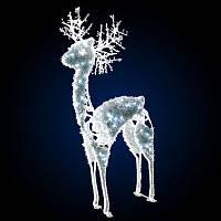 """3D фигура светодиодная """"Косуля"""", белая, с мишурой"""