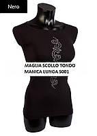 Черная футболка с длинным рукавом и стразами (микрофибра)