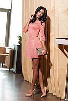 Платье из фактурного дайвинга персиковое