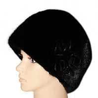"""Норковая шапка """"Конфетка, 3 розы"""" (черный)"""