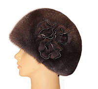 """Норковая шапка """"Конфетка, 3 розы"""" (ирис)"""
