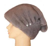 "Норковая шапка ""Бритни, пуговица"" (серо-голубая)"