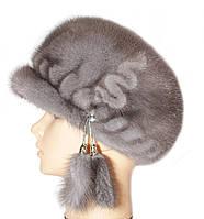 Норковая кепка резаная (серо-голубой)