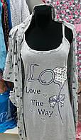 Женский халат с капюшоном и ночной сорочкой 2504