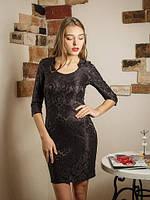 Стильное коктельное платье из гипюровой ткани с цветочным узором