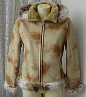 Дубленка женская искусственная модная теплая капюшон бренд Pastorat р.44-46 4340