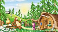 Фотообои  с мультика Маша и медведь на лесной опушке