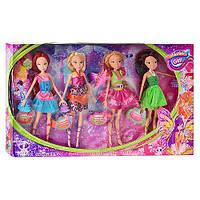 Кукла WX 606 В: 4 феи в одной коробке, любимые мультперсонажи для маленьких принцесс