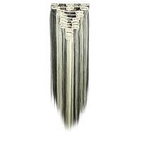 Искусственные волосы на заколках. Цвет #2/613 Мелированный брюнет. Набор прядей