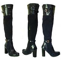 Женские ботфорты на высоком каблуке, натуральная кожа, замш