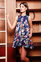 Платье-туника женское из стеганного качественного дайвинга с цветами на молнии
