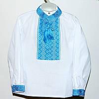 Великолепная рубашка с голубой вышивкой для мальчика