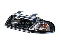 """Передние тюнинг фары Audi A4 B5 '95-98 в стиле """"А5"""", с дневными ходовыми огнями, хромированный с черным корпус"""