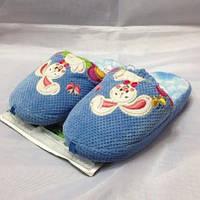 Детские голубые тапочки на резиночке с закрытым носочком