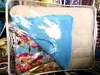 Одеяло из овечьей шерсти Лери Макс двуспальное в голубом цвете