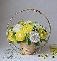 """Букет из конфет """"Лимонные розы"""" с Рафаэлло"""