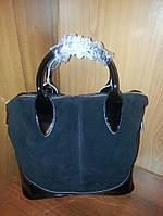 Стильная сумка из натуральной замши с кожаными ручками