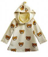 Платье-туника с капюшоном молочная для девочки, рост 110