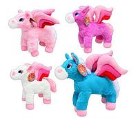 Мягкая игрушка Лошадь MP 0477 4 цвета, с крыльями, муз, 26см