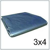 Тент 3*4 м., готовые размеры в ассортименте, плотный 120 г/м2 серебряный с УФ-защитой